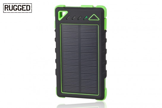 Portable RUGGED SPB-8000 battery with solar panel